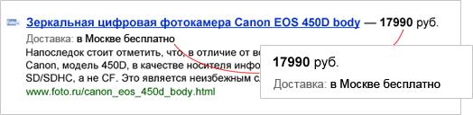 Сниппет с данными Яндекс Маркета