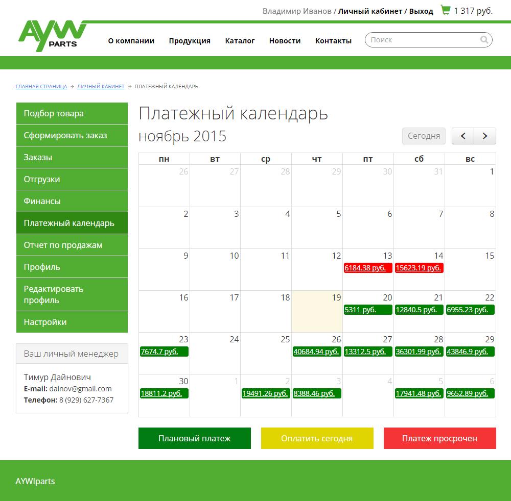 "Компания ""AywiParts"" - Платежный календарь"