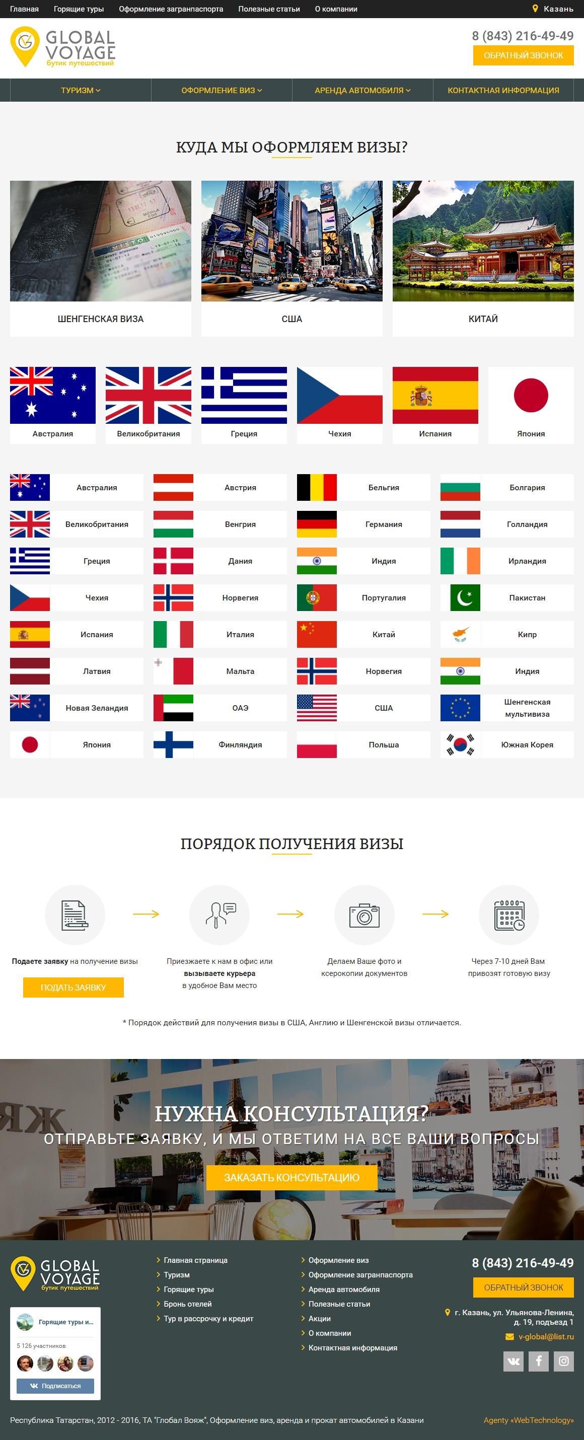 Страны оформления виз - Бутик путешествий Глобал Вояж